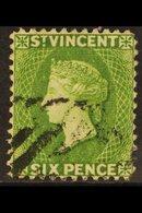 1883-84  6d Bright Green, SG 44, Fine Used, Full Perfs, Fresh. For More Images, Please Visit Http://www.sandafayre.com/i - St.Vincent (...-1979)