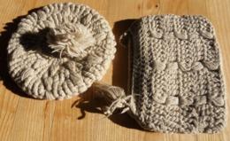 Ensemble Sac à Main Et Béret Au Crochet  En Laine Grège - Laine
