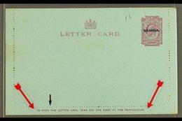 "1914 LETTER CARD  1d Dull Claret On Blue, Inscription 90mm, H&G 1, Unused, Broken ""T"" In ""...OPEN THE..."" Some Very Ligh - Samoa"