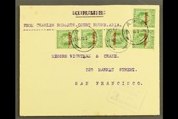 """1916  Official Cover With """"O.H.M.S."""" Obliterated To USA, Franked ½d X5, SG 115, Apia 17.11.16 Postmarks, Censor """"2"""" Cach - Samoa"""