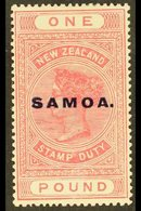"1925-28  £1 Rose Pink ""Postal Fiscal"" Overprinted ""SAMOA"" In Blue, SG 166d, Fine Mint For More Images, Please Visit Http - Samoa"