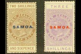 "1925-28  2s6d Deep Grey Brown & 3s Mauve ""Postal Fiscal"" Overprinted ""SAMOA"", SG 166/66a, Fine Mint (2 Stamps) For More  - Samoa"