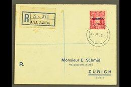 1932  6d Carmine, SG 119, Single Franking On Neat Printed, Registered Envelope To Switzerland, Tied By Apia 29.12.32 Pos - Samoa