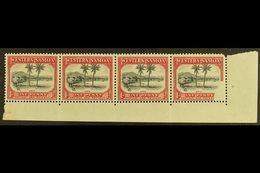1935  Definitive 1d Black And Carmine, SG 181, Fine Mint Corner Marginal Strip Of Four, The Corner Stamp (never Hinged,  - Samoa