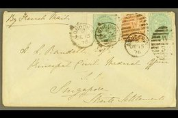 1876 INWARD COVER FROM LONDON  Addressed To The Principal Civil Medical Officer, Franked 1875 1s Green Plate 12 (x2), SG - Singapur (...-1959)