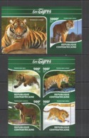 CA272 2015 CENTRAL AFRICA CENTRAFRICAINE FAUNA ANIMALS WILD CATS TIGERS KB+BL MNH - Big Cats (cats Of Prey)