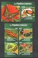 CA273 2015 CENTRAL AFRICA CENTRAFRICAINE FAUNA TROPIC BUTTERFLIES PAPILLONS TROPICAUX  KB+BL MNH - Butterflies