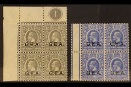 "1921 MINT / NHM BLOCKS OF 4.  12c Grey ""G.E.A."" Opt, SG 63, Upper Left Corner CONTROL PLATE '1' BLOCK Of 4 Fine Mint (al - Tanganyika (...-1932)"