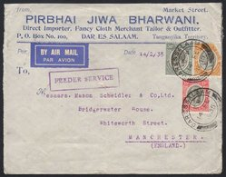 1935  Airmailed Commercial Advert Envelope To Manchester, Franked KGV 15c, 20c (torn) & 50c, Tied DARESSALAAM Date Stamp - Tanganyika (...-1932)