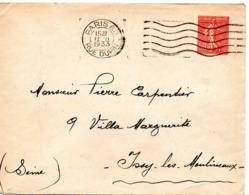 PARIS 80 / RUE DUPIN 1933 =  FLAMME FLIER Muette '7 Lignes Ondulées' + ENTIER SEMEUSE - Marcophilie (Lettres)