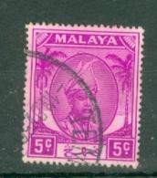 Malaya - Pahang: 1950/56   Sultan Abu Bakar    SG57a     5c   Bright Mauve   Used - Pahang