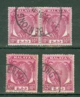 Malaya - Pahang: 1950/56   Sultan Abu Bakar    SG61     10c       Used (x4) - Pahang