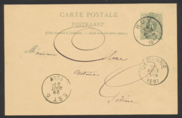 "EP Au Type 5ctm Vert Obl Simple Cercle ""Huy"" (1891) Vers Gedinne + Obl Ambulant ""Est 5"" - Postcards [1871-09]"