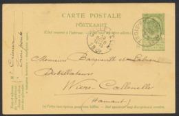 """EP Au Type 5ctm Vert Obl Simple Cercle """"Trois-ponts"""" (1905) Vers Distillateurs à Wiers-Callenelle - Ganzsachen"""