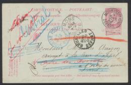 """EP Au Type 10ctm Rouge Fine Barbe De Mons (station) Vers Paris + Cachet Bleu """"Postes Rebuts Belgique"""" (1905) - Postales [1871-09]"""