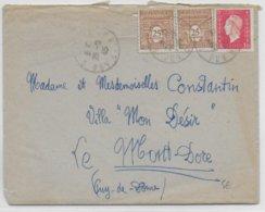 1945 - DULAC + ARC DE TRIOMPHE - LETTRE De GERSAT (PUY DE DOME) => LE MONT-DORE - Marcophilie (Lettres)