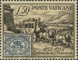 Ref. 115667 * NEW *  - VATICAN . 1952. CENTENARY OF THE STAMP OF THE ROMAN STATES. CENTENARIO DEL SELLO DE LOS ESTADOS D - Vaticano (Ciudad Del)