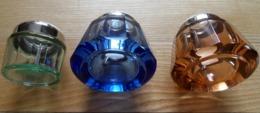 Bases  X 3 De Flacons   à Parfum -  (?) -   En Cristal épais Bleu , Marron &  Vert  Cerclés Métal Blanc - Altre Collezioni