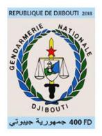Djibouti 2018, Djibouti Gendarmeria Nationale, 1val IMPERFORATED - Police - Gendarmerie
