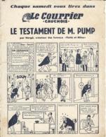 Le Testament De M.PUMP Par HERGE Créateur De TINTIN Et MILOU Dans Le Courrier Cauchois -petits Defauts Visibles Sur Scan - Carte Assorbenti