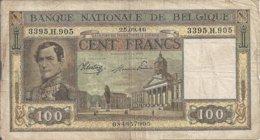 BELGIQUE 100 FRANCS 1946 VG+ P 126 - 100 Frank