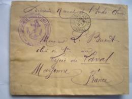 1916 - Enveloppe Vide De La Division Navale De L'indochine Partie De Saïgon Le 30/01 Et Arrivée à Laval Le 03/03/1916 - Indochina (1889-1945)