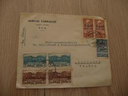 Lettre Postes Syrie 11 Old Stamps Dont Surchargé Pub Dimitri Yannacos Alep Pour Angoulême Par Avion - Siria