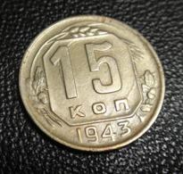 1943 Russia 15 Kopecks / Kopeek Russian Soviet Coin Communist USSR WWII  XF - Russland