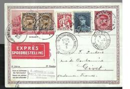 Belgique  Carte En Expres   Du   01 02 1933 De Antwerpen Pour Givet - Belgium