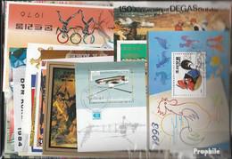 Alle Welt Briefmarken-1.500 Verschiedene Blöcke Und Kleinbögen - Collections (without Album)