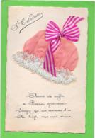 BONNET Sainte CATHERINE Rose à Dentelle Et Ruban Rayé - Mechanical