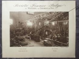 Affiche - Planche Train FRANCO BELGE DE MATERIEL DE CHEMINS DE FER Usine De La Croyère Train De Roues - Spoorweg