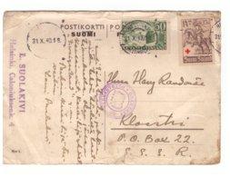 Postcard Helsinki To Kloostri,Estonia,Censor,1940 - Lettres & Documents