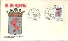 FDC ESPAÑA  1964  LION - Felinos