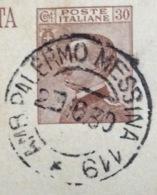 AMBULANTE PALERMO - MESSINA 119  * 29/10/30  SU CARTOLINA POSTALE C.R.P. DA  LENTINI A S.STEFANO MEDIO MESSINA - Storia Postale