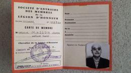 CARTE DE MEMBRE SOCIETE D'ENTRAIDE DES MEMBRES DE LA LEGION D'HONNEUR 1972 - Francia