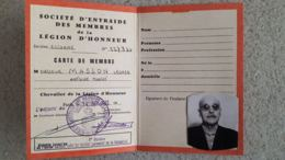 CARTE DE MEMBRE SOCIETE D'ENTRAIDE DES MEMBRES DE LA LEGION D'HONNEUR 1972 - Frankrijk