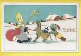 * Fantaisie - Fantasy - Fantasie * Saint Nicolas, Sinterklaas, Sint Maarten, Attelage Ane Donkey, Zwarte Piet, Neige - Saint-Nicolas