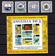 Anguilla 1992, 25 Ans De Séparation De St Christophe Et Nevis, 792 / 795** Et BF 91**, Cote 37,50 € - Anguilla (1968-...)