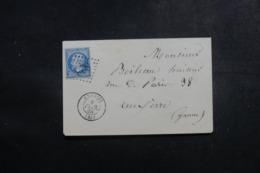 FRANCE - Enveloppe De Chablis Pour Auxerre En 1868, Affranchissement Napoléon , GC 828 - L 46050 - Poststempel (Briefe)