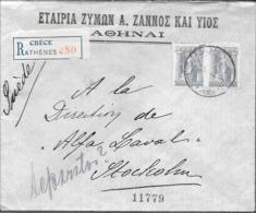 ATHENES 1918 A STOCKHOLM SUEDE ENVELOPPE CIRCULEE REGISTERED MAIL VOIR SCAN - Storia Postale