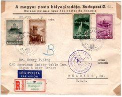 Ungarn 1949, 4 Marken Auf Einschreiben Luftpost Brief V. Budapest N. USA - Hungary