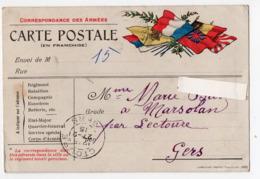 (guerre 14-18) Carte De FRANCHISE MILITAIRE  Avec Drapeaux (PPP20974) - Storia Postale