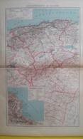 CARTE DU DÉPARTEMENT D'ALGER Avec Plan D'Alger Et Environs 1930 - Carte Geographique