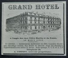 SAINT NAZAIRE GRAND HOTEL RUE VILLES MARTIN GERANT CORNET PUBLICITE ANCIENNE 1914 LOIRE ATLANTIQUE 44 - Publicités