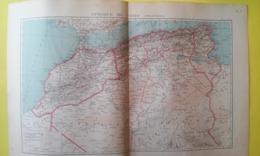 CARTE AFRIQUE DU NORD POLITIQUE MAROC ALGÉRIE TUNISIE 1930 - Carte Geographique