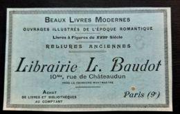 LIBRAIRIE BAUDOT BEAUX LIVRES RELIURES ANCIENNES 1912 PUBLICITE ANCIENNE ACHAT BIBLIOTHEQUES BIBLIOPHILIE LIBRAIRE PARIS - Werbung