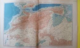 CARTE AFRIQUE DU NORD PHYSIQUE MAROC ALGÉRIE TUNISIE 1930 - Carte Geographique