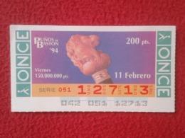 CUPÓN DE ONCE 1994 LOTTERY LOTERIE SPAIN BLIND LOTERÍA PUÑOS DE BASTÓN CANE CUFFS CUFF Poignets De Canne LEÓN LION LÖWE - Billetes De Lotería