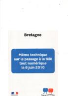 Mémo Technique Sur Le Passage à La Télévision Tout Numérique En Juin 2010, BRETAGNE, 12 Pages - Television